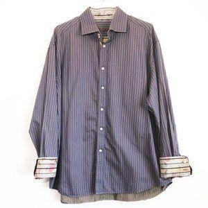 Robert Graham Striped Button Down Shirt Men's 2XL